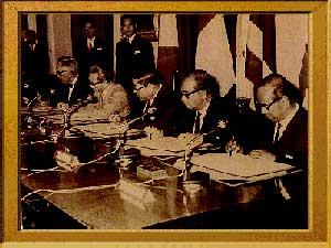 พิธีลงนามในปฏิญญาอาเซียน (ASEAN Declaration) หรือปฏิญญากรุงเทพฯ ที่กรุงเทพฯ เมื่อวันที่ 8 สิงหาคม 2510