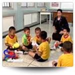 คุณครูกำลังสอนเด็กนักเรียน